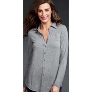 Cabi Grey Button Up Long Sleeve Top Style 140